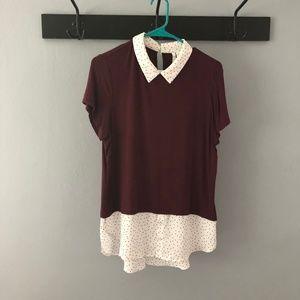 Elle Polkadot Collared T-Shirt